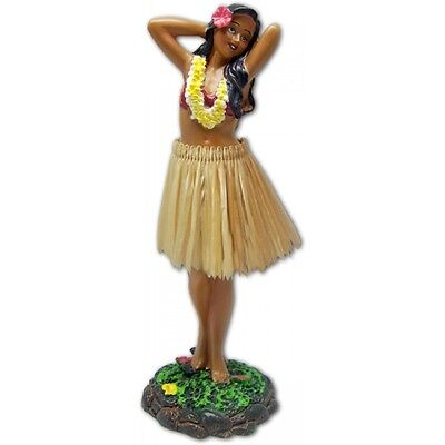 "7"" Leilani Hawaiian Dashboard Hula Girl - Hula Doll - Posing - Natural Skirt"