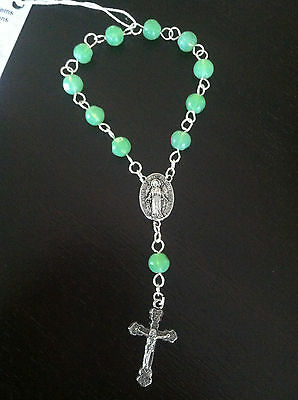 Handmade Pocket Rosary, Wire Wrapped Green Glass Bead Chaplet, Catholic Gifts