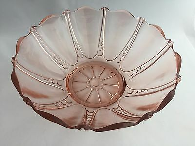Anchor Hocking Oyster and Pearl Pink Depression Glass Large Fruit Bowl 1938-1940