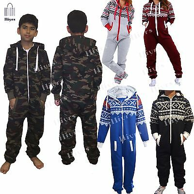 Kids jumpsuit Youth Boys Army Hooded Camouflage One piece Pyjamas unisex 1-13