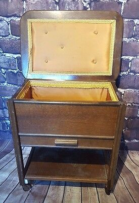Vintage Antique 1950's 1960's 1970's Wooden Sewing Box Trolley Castors Crafts