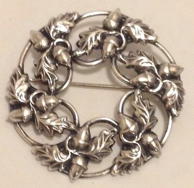 Vintage Danecraft Signed Sterling Silver Wreath Acorns Pin #101216