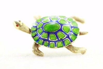 Vintage 14K Gold Martine Good Luck Turtle Pin Brooch Enamel 14Karat Signed
