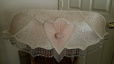Victorian Style Large Wall Hanging Light Fixture-Brocade Fabric Crystal Fringe