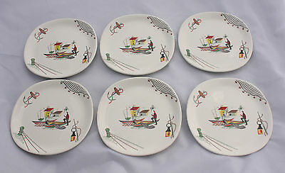 Six vintage ALFRED MEAKIN Square Side Dishes / Plates CLOVELLY BRIXHAM - 1950's