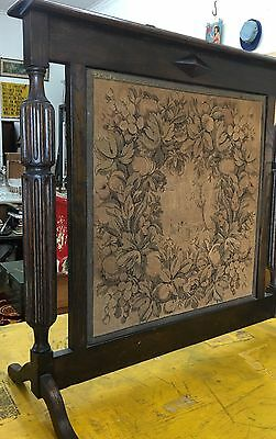 Antique Edwardian Tapestry Fireplace Fire Screen Surround Chrysanthemums Vintage