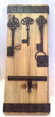 "Keys and Sliding Barrel Bolt Home Decor Wooden Board 28.5"" x 11.5"" ready to hang"