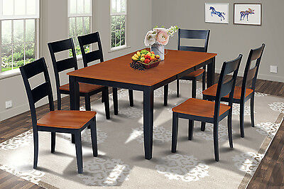 Sunderland Rectangular Dining Room Set With Wood Seat Chairs In Black & Cherry