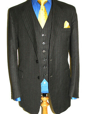 Mens Bespoke Constant Tailoring 3 Pce Vtg Stripy Country Tweed Suit Uk44 W40 L33