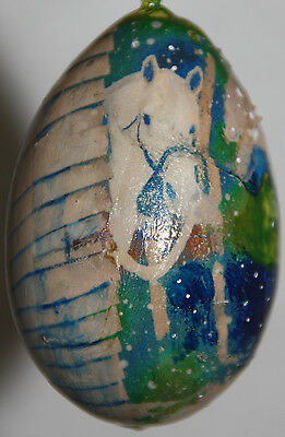 gourd Easter egg, garden or Christmas ornament with horse in barn in snow
