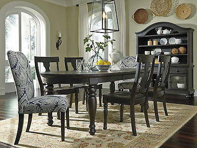 DAWSON - 7pcs Cottage Almost Black Oval Dining Room Table & Mixed Chairs Set New