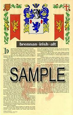 BRENNAN Armorial Name History - Coat of Arms - Family Crest GIFT! 11x17