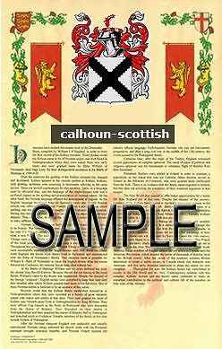 CALHOUN Armorial Name History - Coat of Arms - Family Crest GIFT! 11x17