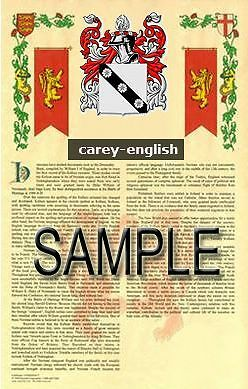 CAREY Armorial Name History - Coat of Arms - Family Crest GIFT! 11x17