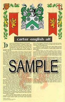 CARTER Armorial Name History - Coat of Arms - Family Crest GIFT! 11x17