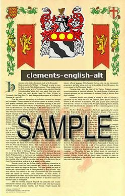 CLEMENTS Armorial Name History - Coat of Arms - Family Crest GIFT! 11x17