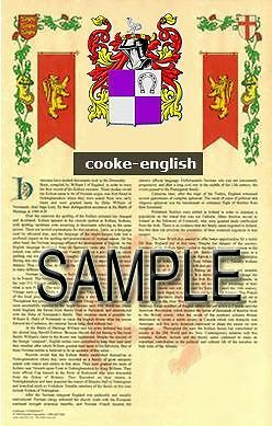 COOKE Armorial Name History - Coat of Arms - Family Crest GIFT! 11x17