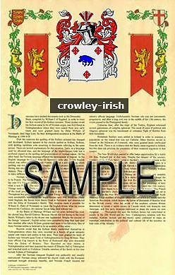 CROWLEY Armorial Name History - Coat of Arms - Family Crest GIFT! 11x17