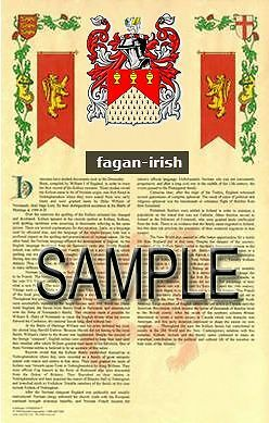 FAGAN Armorial Name History - Coat of Arms - Family Crest GIFT! 11x17