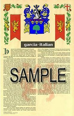 GARCIA Armorial Name History - Coat of Arms - Family Crest GIFT! 11x17