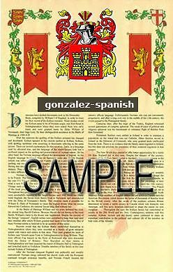 GONZALEZ Armorial Name History - Coat of Arms - Family Crest GIFT! 11x17