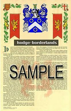 HODGE Armorial Name History - Coat of Arms - Family Crest GIFT! 11x17