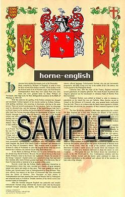 HORNE Armorial Name History - Coat of Arms - Family Crest GIFT! 11x17
