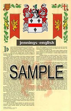 JENNINGS Armorial Name History - Coat of Arms - Family Crest GIFT! 11x17