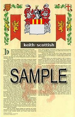 KEITH Armorial Name History - Coat of Arms - Family Crest GIFT! 11x17