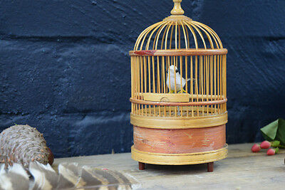 True Vintage Automaton Mechanical Moving Bird In Bamboo Cage