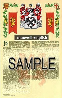 MAXWELL Armorial Name History - Coat of Arms - Family Crest GIFT! 11x17