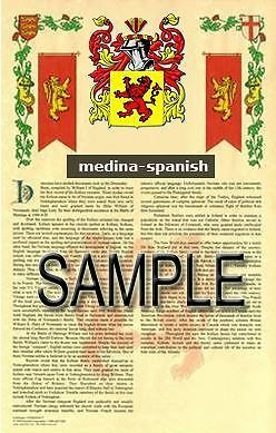 MEDINA Armorial Name History - Coat of Arms - Family Crest GIFT! 11x17