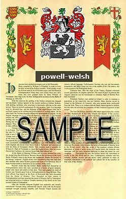 POWELL Armorial Name History - Coat of Arms - Family Crest GIFT! 11x17