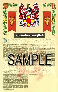 RHOADES Armorial Name History - Coat of Arms - Family Crest GIFT! 11x17