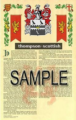 THOMPSON Armorial Name History - Coat of Arms - Family Crest GIFT! 11x17