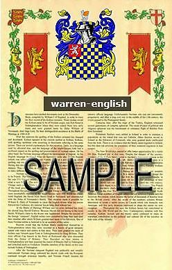 WARREN Armorial Name History - Coat of Arms - Family Crest GIFT! 11x17