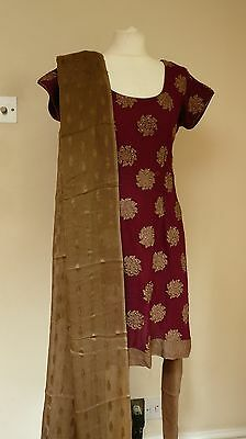 plum beige 10-12  punjabi Indian salwar kameez PYJAMI bollywood PY13379