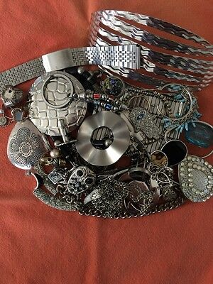 Silver Tone Jewelry 1 LB LOT: Necklaces, Earrings, Etc. Craft Repurpose #2
