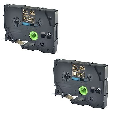 """2PK TZe334 TZ334 Gold On Black Label Tape For Brother P-Touch PT-1890W 1/2"""""""