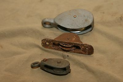 "3 Vintage Antique Pulleys 1"", 1.5"" & 2"" wheels, as is"