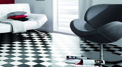 New Black and White Classic Checked Tiles look VINYL FLOORING 4m Wide