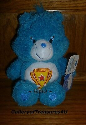 "Care Bears Fluffy Friends Special Edition 8"" Plush Champ Trophy Blue Bear"