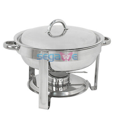 Cook and Home Round Chafing Dish Chafer with Lid 5-QT, 5 quart Stainless Steel