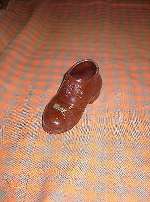 Vintage Red Clay Brown Baby Shoe Toothpick Holder A Souvenir Of London Canada