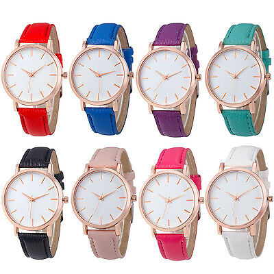 Fashion Women's Watches Leather Band  Stainless Steel Analog Quartz Wrist Watch