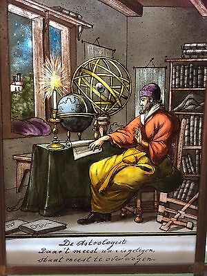 """Dutch Stained Glass - Luyken """"Book of Trades - 1694""""  - the astrologist"""