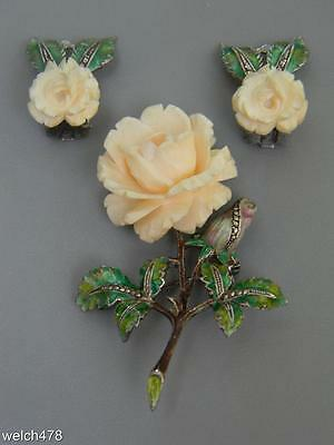 Vintage 1940's Germany Sterling Enamel Marcasite Rose Broach & Matching Earrings