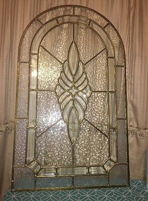 """LEADED GLASS OVAL Top PANEL.  36""""x21""""."""