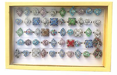 Wholesale Lot 50pcs Rhinestone Ring Adjustable size jewelry Display Case box- R4