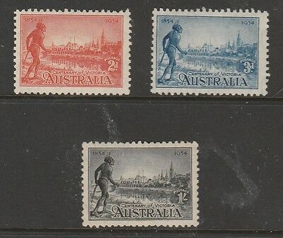 """1934 Victoria Centenary Complete Set """"3"""" Mint Unhinged 10.5 Perf Fresh & Scarce"""